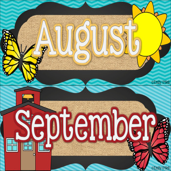 Calendar Set (Butterfly, Blue, Black & Burlap Theme)