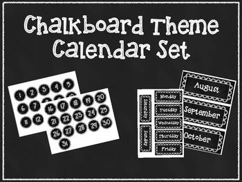 Calendar Set- Chalkboard Theme