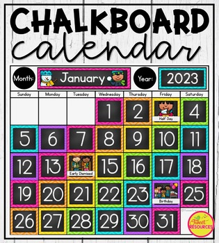 Calendar Display in Chalkboard & Chevron Classroom Decor for Back To School