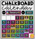 Calendar Display in Chalkboard & Chevron Classroom Decor for Back To School