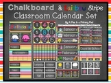 Calendar Set: Chalkboard and Rainbow Stripe