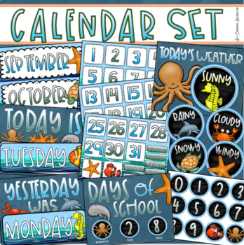 Calendar Set Classroom Decor Back To School Ocean Under The Sea Underwater Theme