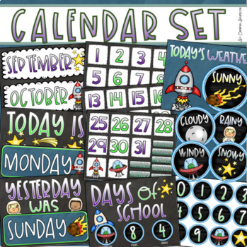 Calendar Set Classroom Decor Back to School Outer Space Theme