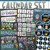 Calendar Set Classroom Decor Back to School Outer Space Theme
