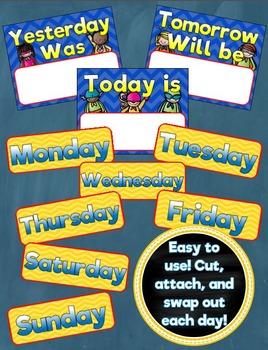 Calendar Set Classroom Decor Back to School Superhero Theme