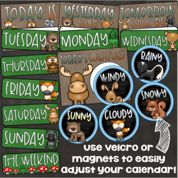 Calendar Set Classroom Decor Back to School Woodland Animals Forest Theme
