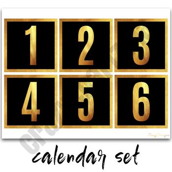 Calendar Set - Classroom Decor Black and Gold