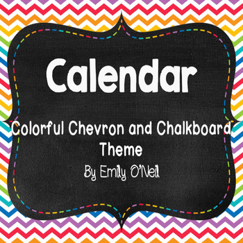 Calendar Set (Colorful Chevron & Chalkboard Theme)