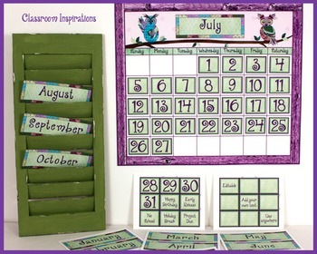 Calendar Set – Coordinates with Book Smart Owls Classroom Theme