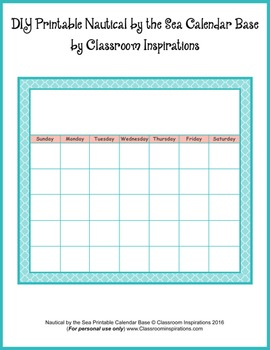 Calendar Set – Coordinates with Nautical by the Sea Classroom Theme
