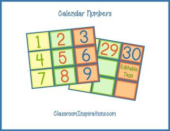 Calendar Set – Coordinates with Sock Monkey Classroom Theme