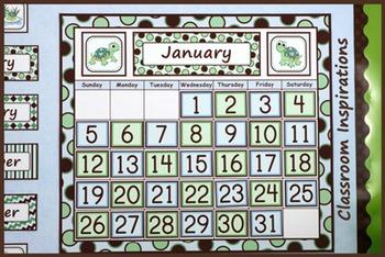 Calendar Set – Coordinates with Turtle Time Classroom Theme