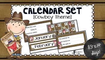 Calendar Set for Back to School Cowboy Theme