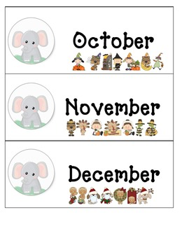 Calendar Set: Elephant/Jungle/Circus/Zoo Theme