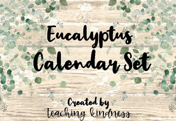 Calendar Set Eucalyptus Greenery Decor Back to School