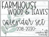 Calendar Set - Farmhouse: Weathered Wood & Green Leaves (2