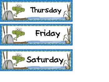 Calendar Set Frog Themed