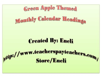 Calendar Headers and Calendar Numbers - Apple Themed - Green
