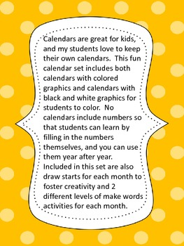 Calendar Set-  Includes Calendar, Draw Starts, and Make Words for Each Month
