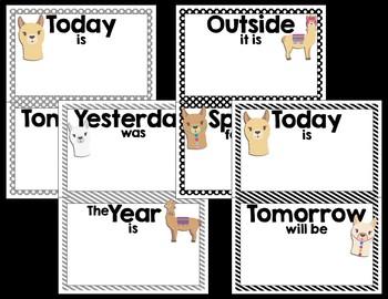 Calendar Set - Llama Classroom Decor
