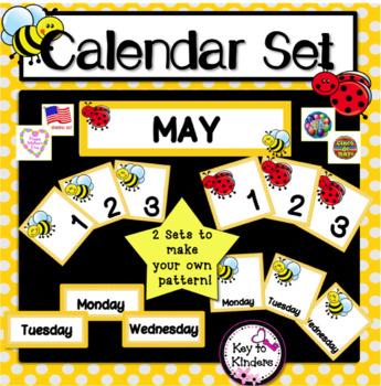 Calendar Set - May - Bees & Ladybugs FREE