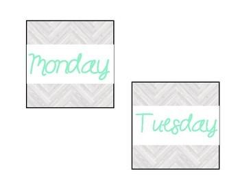 Classroom Calendar Bundle for Bulletin Board: Mint and Wood