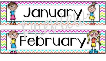 Calendar Set for Back to School Neon Chevron Theme