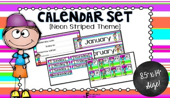 Calendar Set for Back to School Neon Striped Theme
