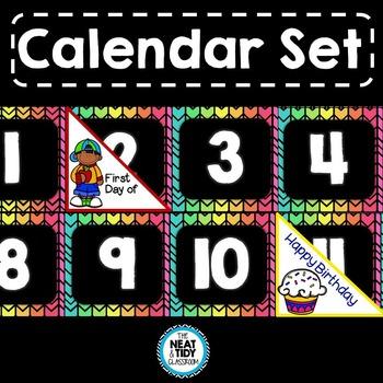 Calendar Set (Neon and Black Chevron)