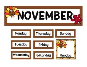 Calendar Set - November - Turkeys FREE