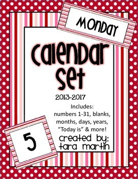 Calendar Set Numbers & Headings {Red, White, & Pink}