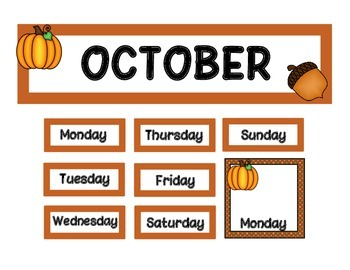 Calendar Set - October - Pumpkins FREE