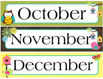Calendar Set (Owl Theme) Months and Numbers by ScrapNteach ...