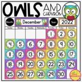Calendar Display in Owls and Chevron Decor Theme