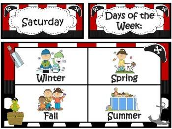 Calendar/Weather Set ~ Pirate Theme