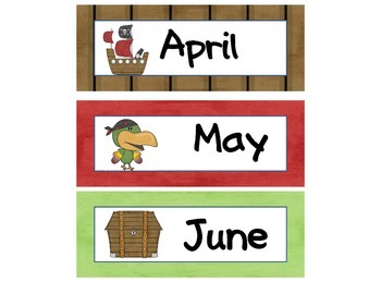 Calendar Set Pirate  Theme
