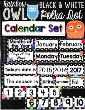 Calendar Set - Rainbow Owl with Black & White Polka Dots
