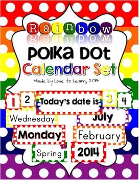 Calendar Set - Rainbow Polka Dot