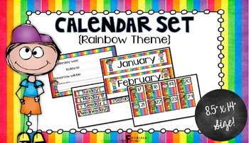 Calendar Set for Back to School Rainbow Theme