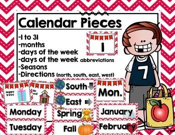 Calendar Set- Red Chevron