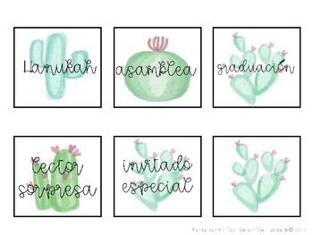 Watercolor Cactus Theme Calendar Set (SPANISH)