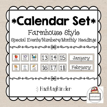 Calendar Set - Special Events/Numbers 1-31/Monthly Headings - Farmhouse Style