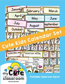 Calendar Set -  Cute Kids Classroom Decor