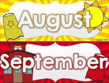 Calendar Set (Superhero Theme)