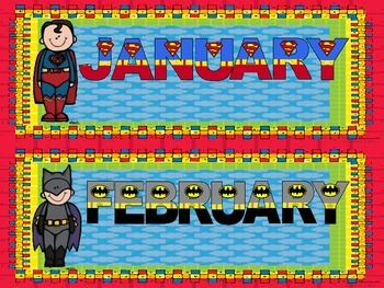 Calendar Set ~ Superheroes
