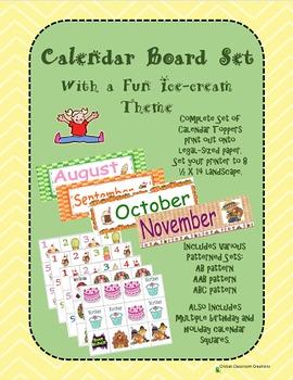 Calendar Set With a Fun Ice-Cream Theme