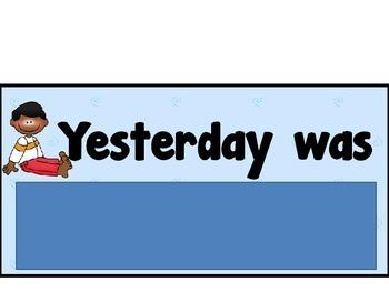 Calendar Set Yesterday Today Tomorrow Cards