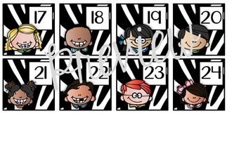 Calendar Set for Back to School Zebra Theme