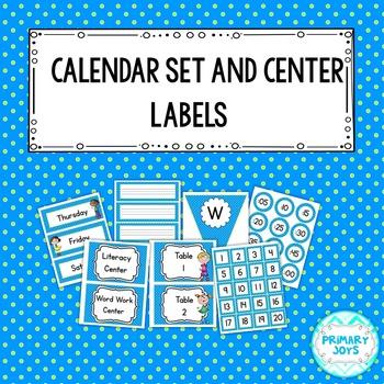 Calendar Set and Center Labels {Blue & Lime Polka Dot}