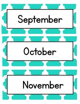 Calendar Set and Center Labels {Turquoise Cloud Quatrefoil}